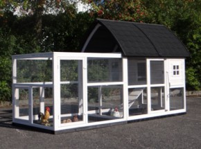 Rabbit hutch Cathedral Large with added runs and foundations 286x150x157cm