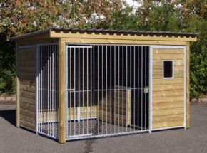 Dog kennel Forz with insulated doghouse, wooden frame and window