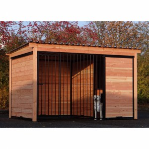Dog kennel Forz black with instulated doghouse and Douglas wood frame
