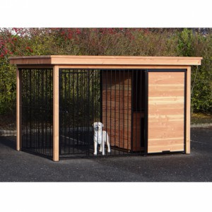 Dog kennel FIX black with roof and frame of Douglas wood 352x240 cm