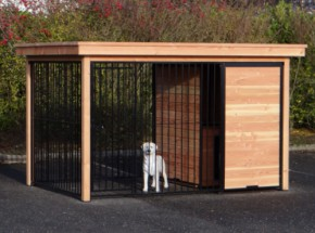 Dog kennel Fix Black with frame of Douglaswood and Doghouse