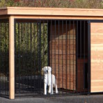 Dog kennel with free run of 2x2 and equipped with insulated doghouse
