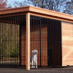 Dogkennel Black with Douglas wood