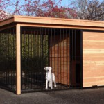 Dog kennel FIX black with frame of Douglas wood and doghouse
