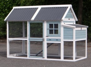 Chicken coop Ariane with laying nest - White Blue 213x102x145cm