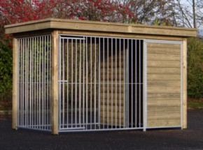 Dog kennel Fix with wooden frame and luxury roof