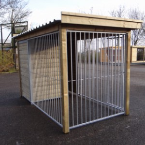 Dog kennel with run and luxury roof