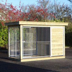 Dog kennel with doghouse