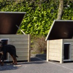 Doghouses Ferro and Wolf besides each other with Rottweiler