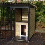 Dog kennel with integrated doghouse