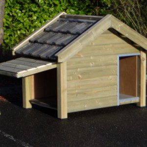 Dog house with side panel which can be opened