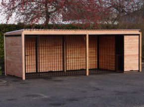 Large dog kennel with insulated doghouse and Douglas frame