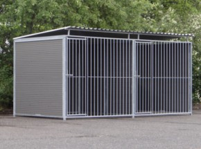 Double dog kennel WPC with roof 4x2m