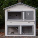 Wooden rabbit hutch with run