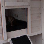Hutch for rabbits with lockable sleeping compartment