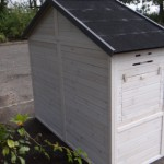 Large rabbit house of wood with sleeping compartment and run