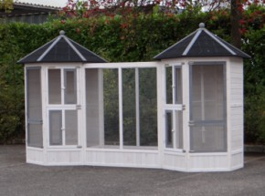 Aviary Hannah combi with run white-grey 314x127x187cm