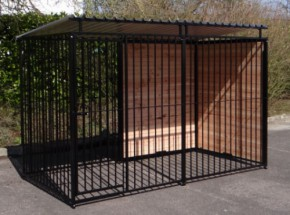 Kennel for dogs FERM Black with roof 1,5 x 3 m