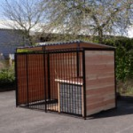 Dog kennel FERM Black wiith roof and doghouse Select 1,5 x 3m
