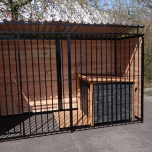 Dog kennel with dog house and roof